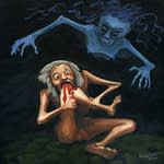 Painting by Josonia Palaitis based on Ovid's Metamorphoses depicting a naked old man biting his knee and drawing blood with a scary dark blue ghoulish figure flying above him
