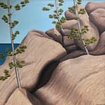 Oil Painting by Josonia Palaitis depicting large grey boulder rocks and a few pine saplings with a blue sky and ocean horizon