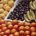 A detail of a painting of fruit by Josonia Palaitis featuring lemons and oranges and plums and banannas