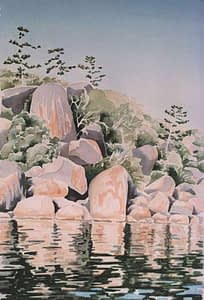 Watercolour by Josonia Palaitis depicting the reflections of boulders and tress with a blue sky