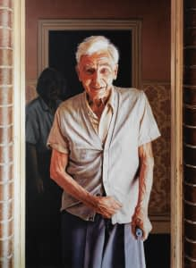 An oil painting depicting artist John Mills painted by her daughter Josonia Palaitis showing her elderly father at the entrance to a door holding a walking stick and looking at the viewer with a spirited smile
