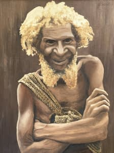 Oil painting by Josonia Palaitis depicting a man with curly hair and a beard from the Papua New Guinea Highlands with his arms crossed and smiling with the strap of a billum visible