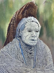 Oil painting by Josonia Palaitis depicting an old woman who is a widow from the Southern Highlands of Papua New Guinea with thick white cracking clay caked on her face wearing a brown headdress and shoulders and neck adorned with hundreds of beads