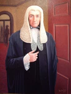 Oil painting by Josonia Palaitis depicting a man with a white wig wearing black ceremonial attire standing in a hallway
