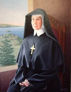 Oil painting by Josonia Palaitis depicting a nun in full atite wearing a crucifix sitting beside a window with a view to the ocean
