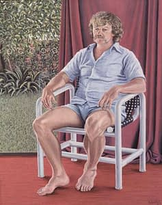 Oil painting by Josonia Palaitis depicting a man named Ed Palaitis with a moustache sitting in a chair barefoot and in shorts and a short sleeved shirt with a red curtain background and a garden visible through a window