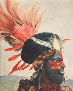 Oil painting by Josonia Palaitis depicting the profile portrait of a PNG man from the Highlands with lots of feathers from his headwear and traditional painted face in reds and blues