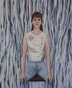 Self portrait painting by Josonia Palaitis with the artist wearing jeans and a white singlet sitting on a chair with a flowing blue and white abstract background