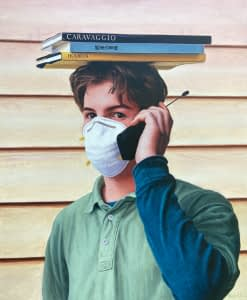 Oil painting by Josonia Palaitis depicting a man holding an old style mobile phone, wearing a white face mask standing with three books balancing on his head to create an unusual portrait