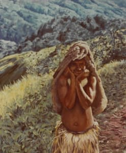 Oil painting by Josonia Palaitis depicting a woman from Mendi in the Papua New Guinea Highlands standing with her hands holding her chin, wearing a grass skirt and carrying a full billum by having it carried by her head with a lush geen landscape in the background