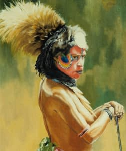Oil painting by Josonia Palaitis of an eastern Highland woman from Papua New Guinea with a large plume of tan coloured feathers as haeddress and her face painted in vibrant colours of red, yellow and green and she stands visible from the naked torso up, seen from the side, looking to the right