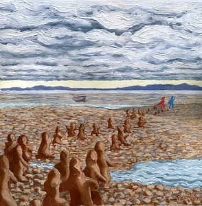 Painting by Josonia Palaitis based on Ovid's Metamorphoses depicting earthen figures appearing from the rocks beside a river with a washed up boat and low cloudy sky in the background