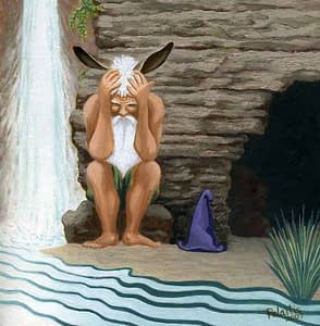 Painting by Josonia Palaitis based on Metamorphoses depicting Midas with his head in his hands sitting beside a waterfall and outside of a cave with a purple hat beside him on the ground