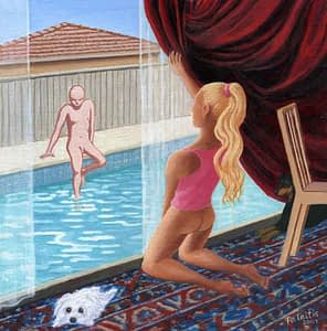 Painting by Josonia palaitis based on Ovid's Metamorphoses depicting a man getting in a pool with a woman kneeling on a patterned rug looking at him through a glass window