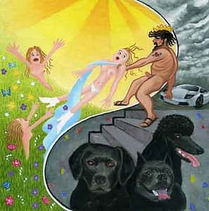 Painting by Josonia Palaitis depicting a scene from Ovid's Metamorphoses with three black dogs and naked figures in the background titled the abduction of proserpina