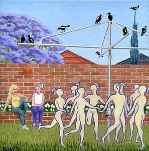 Painting by Josonia Palitis based on Ovid's Metamorphoses depicting humanoid figures dancing aroung a hills hoist washing line with magpies sitting atop and a brick wall and jacaranda tree in the background