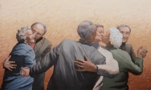 Oil Painting by Josonia Palaitis depicting three elderly couples dancing and as two couples pass each other, the two women turn to kiss eack other whilst still embraced by their male companions with the other woman being embraced and kissed on the cheek by her male companion with a beige background