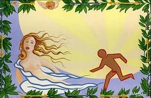 Painting by Josonia Palaitis based on Ovid's Metamorphoses depicting half a woman with long hair being pursued by a stick-like figure with large rays of sunlight in the background and a border of green leaves