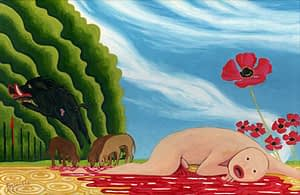 Painting by Josonia Palaitis based on Ovid's Metamorphoses depicting a naked bald man lying on the ground in a pool of blood with a black boar, wolves, poppies and a blue sky forming the backdrop