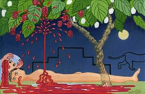Painting by Josonia Palaitis based on Ovid's Metamorphoses depicting a man lying in a pool of blood with blood spurting up and hitting the green leaves of the tree he's underneath