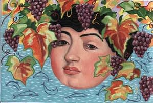 Painting by Josonia Palaitis based on Ovid's Metamorphoses depicting a fullsome and youthful head with hair made up of grapes and leaves