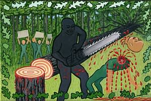 Painting by Josonia Palaitis based on Ovid's Metamorphoses depicting a shadowy figure with a chainsaw choopping the head off a man with blood spurting from his neck and a felled tree behind them in a forest setting