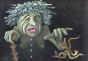 Painting by Josonia Palaitis based on Ovid's Metamorphoses depicting an old sickly woman with green flesh appearing from the darkness with asps at her fingertips