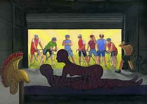 Painting by Josonia Palaitis based on Ovid's Metamorphoses depicting a couple making love with a Roman helmet on the bedhead and a group of seven cyclists in the background peering through open roller doors