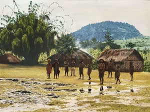Oil painting by Josonia Palaitis depicting a village men and women standing in front of grass huts with puddles on the grass reflecting the grey sky and a mountain and large tree in the background