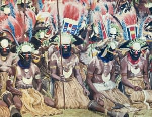 Oil painting by Josonia Palaitis depicting a sing sing in PNG with lots of men in traditional dress with lots of feathers and straw dresses