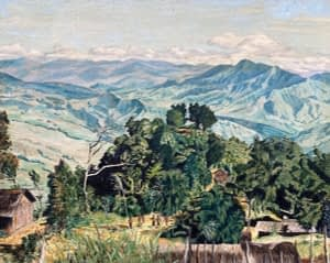 Oil painting by Josonia Palaitis depicting an expansive landscape of rolling mountains in Papua New Guinea with a small village in the foreground showing people at a distance, trees and grass huts