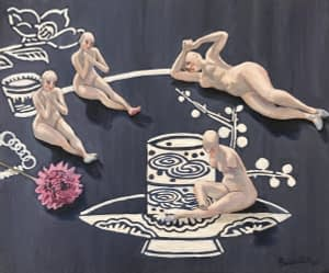 Oil painting by Josonia Palaitis depicting a still life arrangement of naked figurines sitting on a blue and white tablecloth