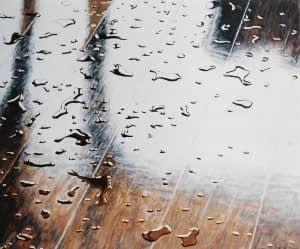 Photorealist oil painting by Josonia Palaitis depicting droplets of water on a polished wooden floor
