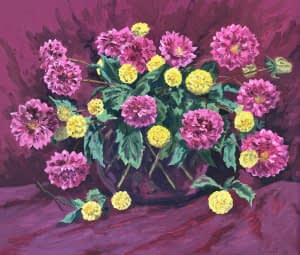 Oil painting by Josonia Palaitis depicting a still life arrangement of purple and yellow flowers in a vase