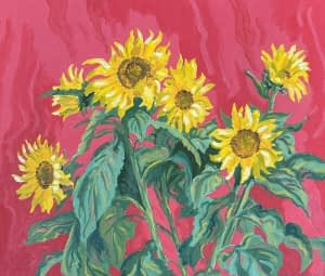 Still life oil Painting by Josoina Palaitis depicting sunflowers in front of a pink background