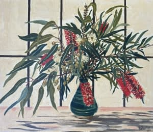 Still life oil painting by Josonia Palaitis depicting bottlebrush branches and flowers in a blue vase