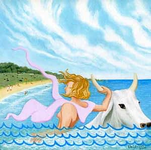 Painting by Josonia Palaitis depicting a white cow swimming in the sea with a beach in the background and a woman wearing pink holding one of its horns