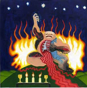 Painting by Josonia Palaitis based on Ovid's Metamorphoses depicting hercules sitting on a small mound with his chest open and showing ribs and blood pouring like a river from his body with fiery flames behind him and candles in the foreground