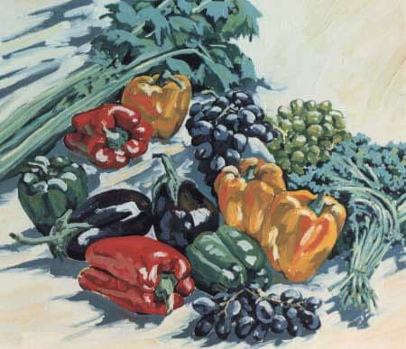 Oil painting by Josonia Palitis depicting an arrangement of capscums, eggplants and other green vegetables