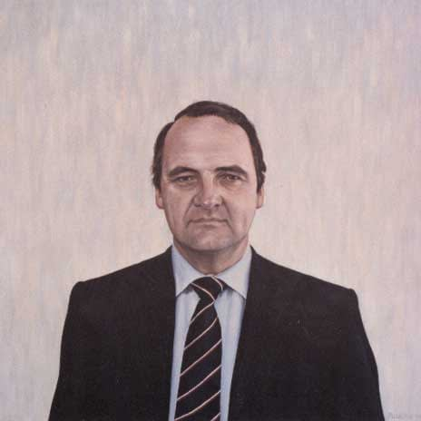 Portrait painting by Josonia Palaitis depicting politician John Down with a suit and stripy tie