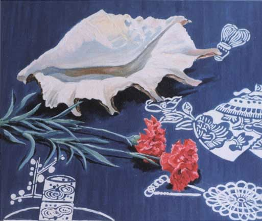 Oil painting by Josoina Palaitis depicting a still life arrangement of a conch shell and two red flowers sitting on a blue and white tablecloth
