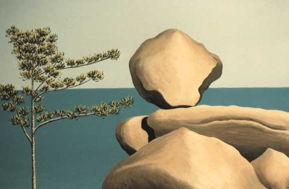 Oil painting by Josonia Palaitis depicting a boulder balancing on large rocks with a small tree to the left and the ocean horizon forming the backdrop