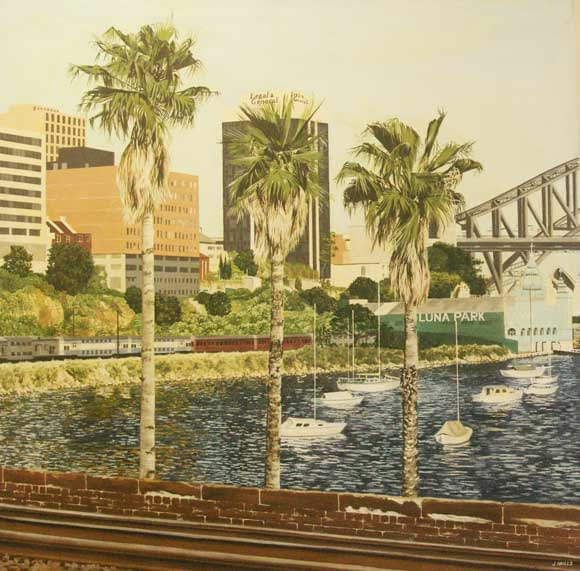Oil painting by Josonia Palaitis depicting Lavender Bay in Sydney with three palm tress in the foreground and the Harbour Bridge in the background with boats at anchor