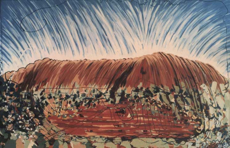 Oil painting by Josonia Palaitis depicting Uluru with a vibrant sky and greenery in the foreground