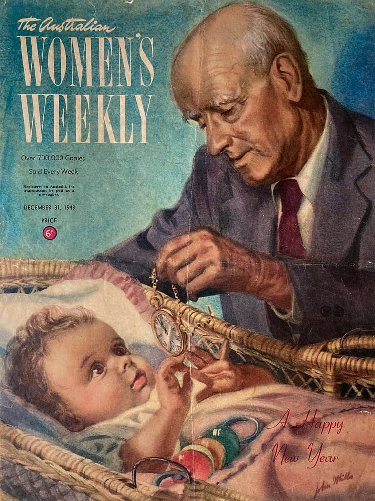Cover image of teh Australian Women's Weekly magazine depicting an illustration by John Mills of a grandfather tending to his grand daughter who is in a cot playing with his pocket watch