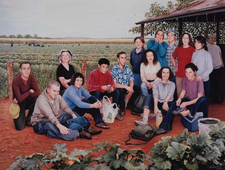 An oil painting by Josonia Palaitis depicting 15 young backpackers who died in a fire in Childers Queensland and they are shown gathered taking a break from fruit picking with red soil and in the foreground and vegetables growing in the distance with a everyone smiling all in casual dress